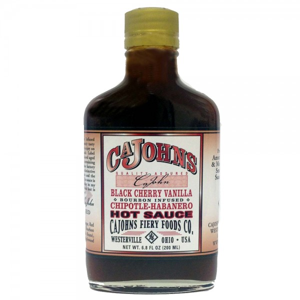 CaJohns Black Cherry Vanilla Bourbon Infused Chipotle-Habanero Hot Sauce, 200ml