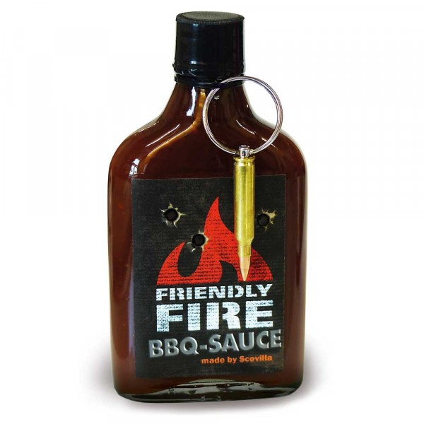 Scovillas FRIENDLY FIRE BBQ Sauce with real bullet, 235 ml