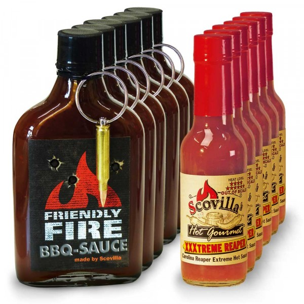 Scovilla Carolina Mix, 6x Friendly Fire BBQ, 6x XXXtreme Reaper