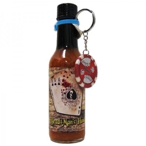 Dead Man's Hand Papaya Scotch Bonnet Hot Sauce With Poker Chip Key Chain, 148ml